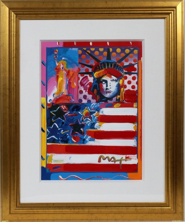 PETER MAX, MIXED MEDIA LITHOGRAPHY, 2001,