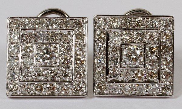 3.50CT DIAMOND SQUARE CLUSTER EARRINGS,