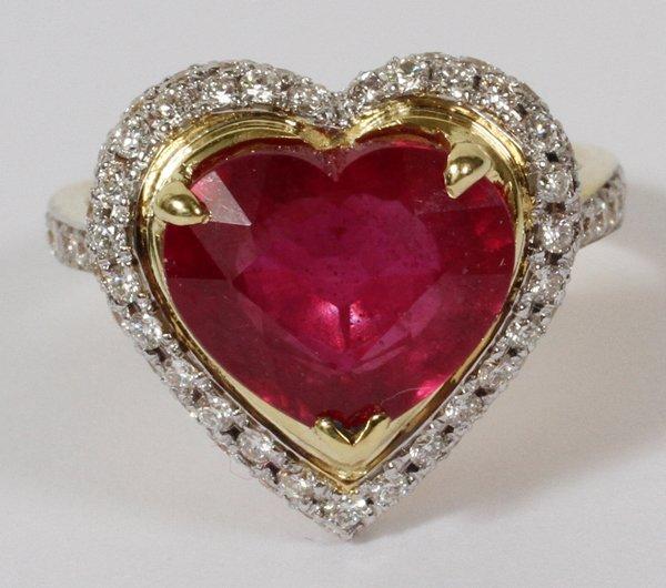4.88CT ENHANCED RUBY & 1.5CT DIAMOND RING,
