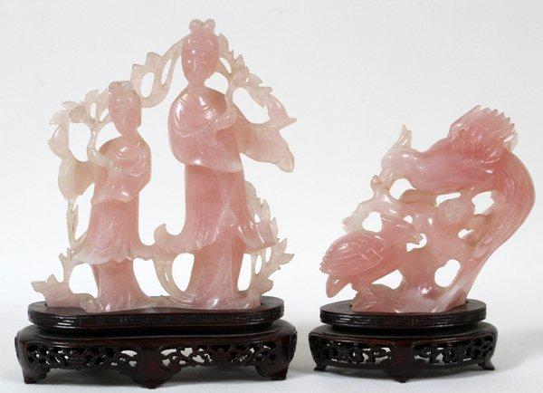 CHINESE CARVED ROSE QUARTZ FIGURES, TWO,