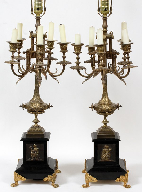 BRONZE & MARBLE CANDELABRAS AS A TABLE LAMPS