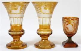 BOHEMIAN AMBER GLASS VASES PAIR H 9