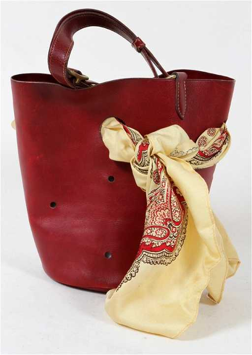 c42e8e7db HERMES RED LEATHER MANGEOIRE BAG, HERMES SCARF. placeholder. See Sold Price