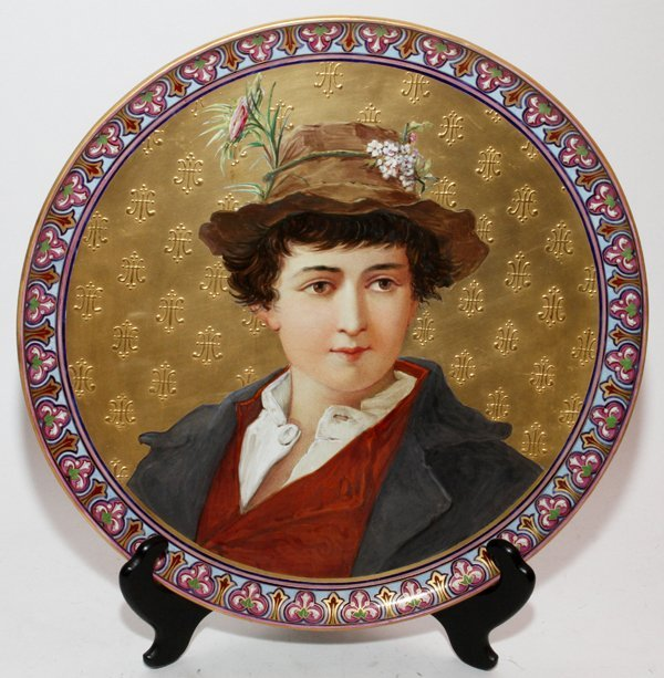 BARLUET & CIE., FRENCH CERAMIC PORTRAIT CHARGER