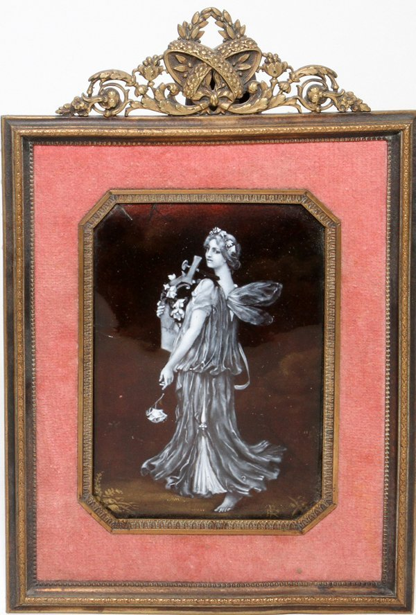 LIMOGES ENAMELED COPPER PLAQUE, SIGNED,