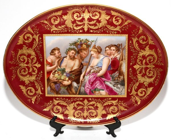 ROYAL VIENNA HAND-PAINTED PORCELAIN TRAY, W 13""