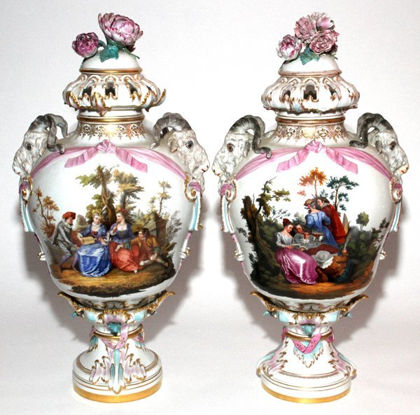KPM/ROYAL PORCELAIN PORCELAIN COVERED URNS,