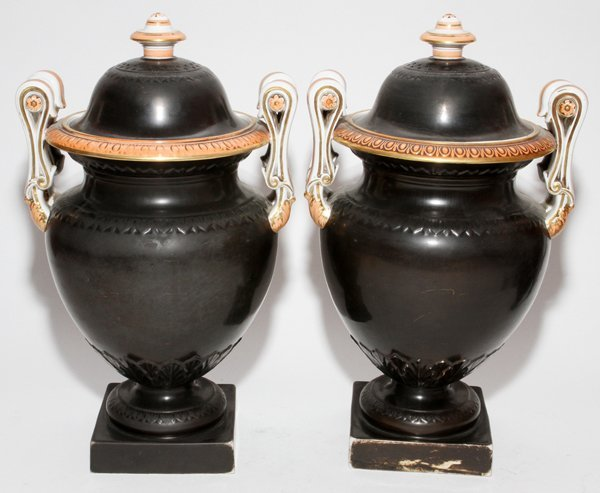 J. & M.P. BELL & CO. 'GRANITE' PORCELAIN URNS,