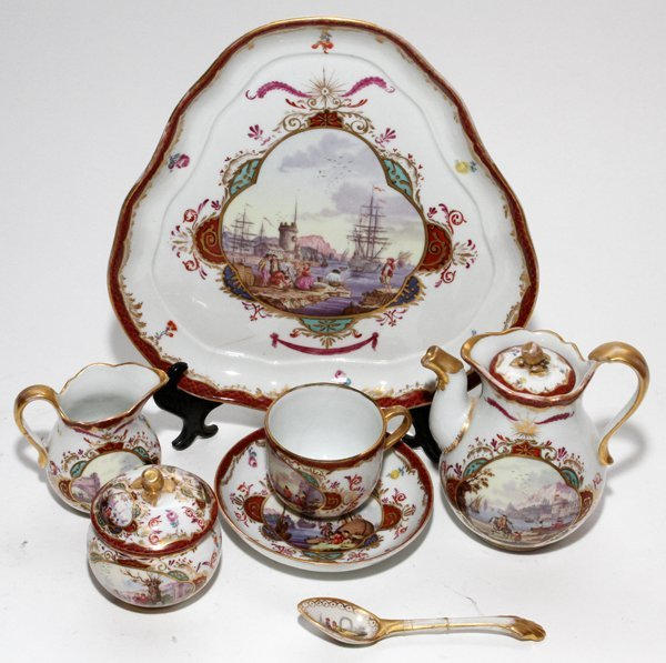 AUGUSTUS REX, MEISSEN PORCELAIN TEA SET, 19TH C