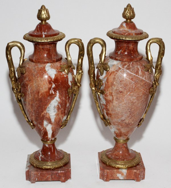 FRENCH MARBLE & BRONZE-MOUNTED COVERED URNS,