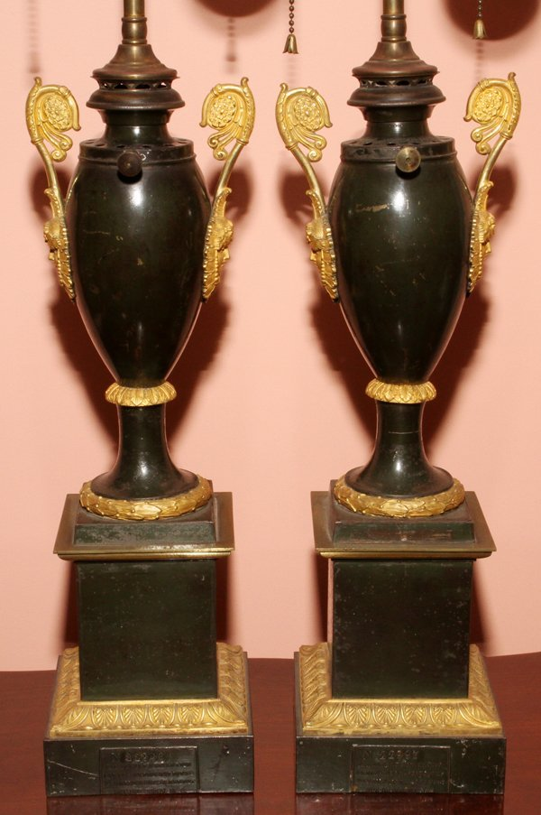 FRENCH EMPIRE TOLE & BRONZE-MOUNTED LAMPS,