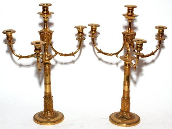 FRENCH BRONZE FOUR-LIGHT CANDELABRA, PAIR,