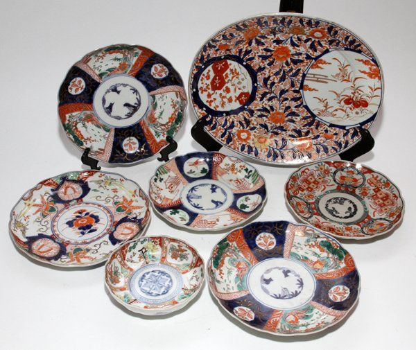 JAPANESE IMARI PORCELAIN PLATES, BOWL & PLATTER, LATE 1
