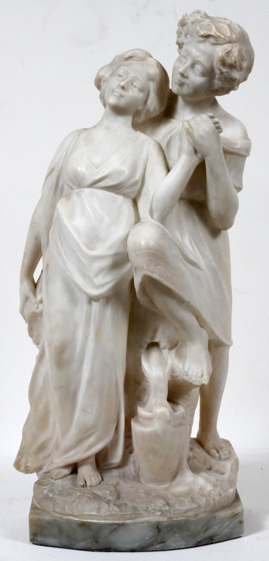 """ITALIAN CARVED MARBLE SCULPTURE, C. 1900 H 20"""","""