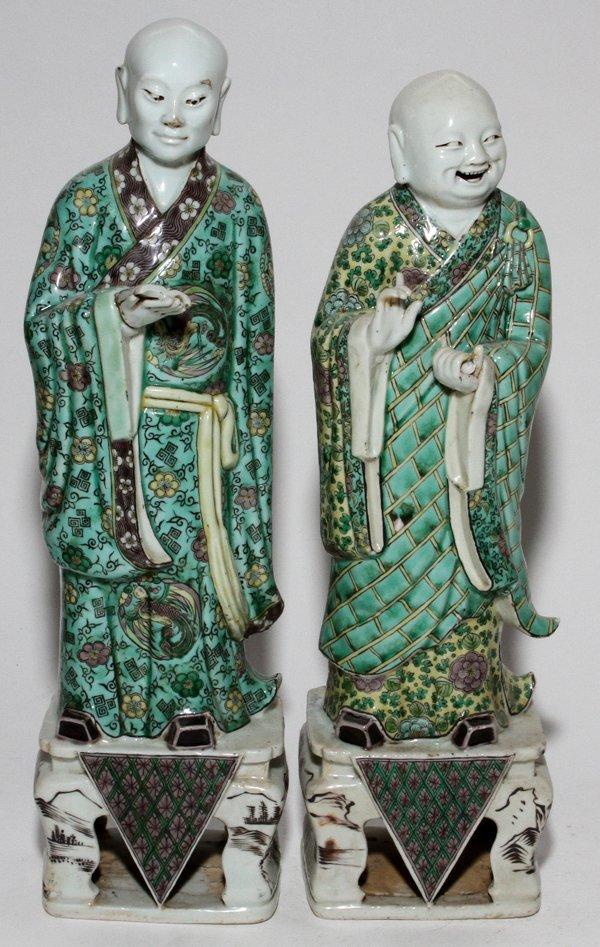 CHINESE PORCELAIN FIGURES OF ELDERS, PAIR,
