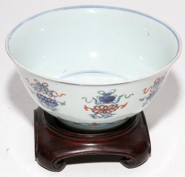 "CHINESE PORCELAIN BOWL, 19TH C., H 4"", DIA 8"""
