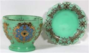 BOHEMIAN ENAMELED GLASS PUNCH BOWL WITH STAND