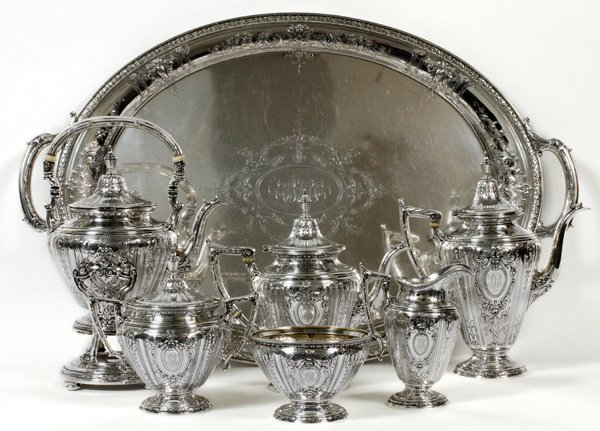GORHAM 'MAINTENON' STERLING TEA & COFFEE SET W/ TRAY