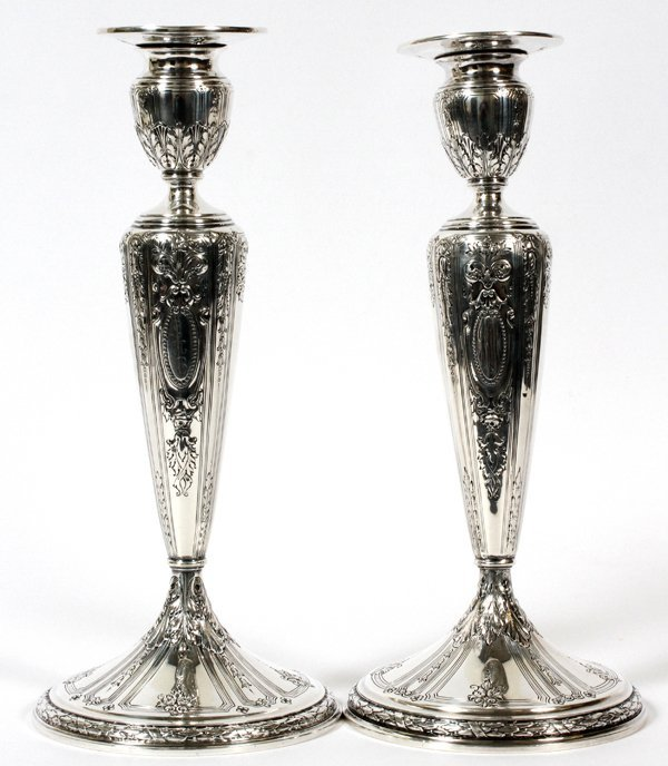 GORHAM 'MAINTENON' STERLING CANDLESTICKS, H 11""