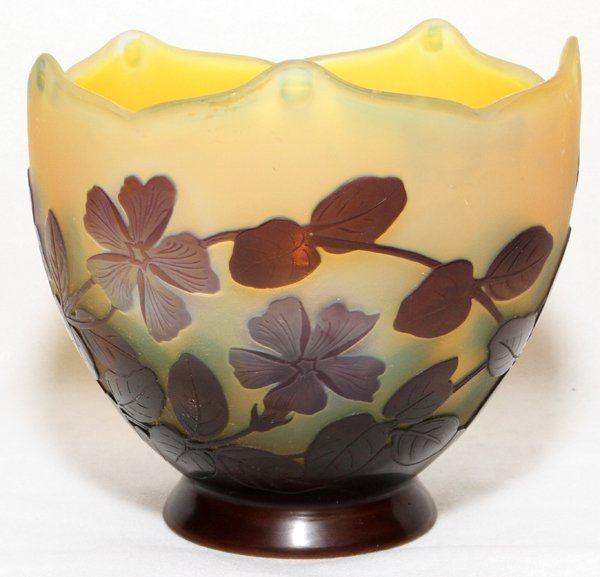 "GALLE CAMEO GLASS BOWL, H 5"", W 5 1/2"""