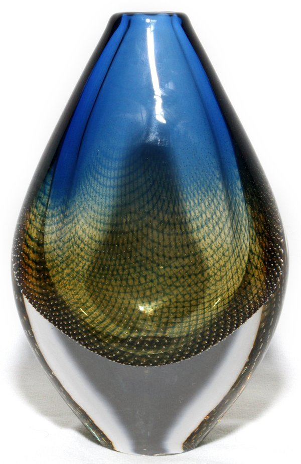 "SVEN PALMQUIST FOR ORREFORS GLASS VASE, 7 1/4""H"