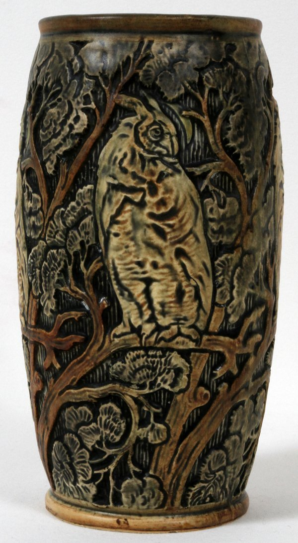 WELLER KNIFEWOOD POTTERY VASE WITH HOODED OWLS