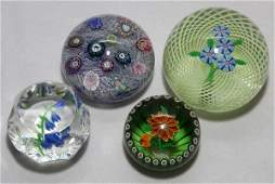 PERTHSHIRE GLASS PAPERWEIGHTS FOUR DIA 23