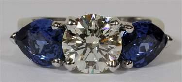 1.70CT ROUND DIAMOND & 3.10CT SAPPHIRE RING