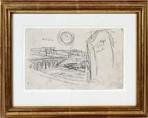 ATTRIBUTED TO OSCAR F. BLUEMNER, PENCIL DRAWING