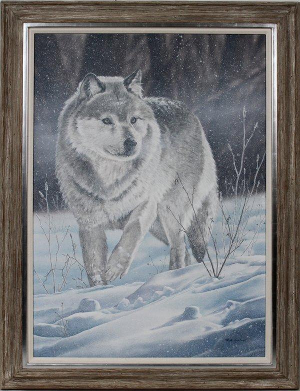 ROB GWYNN ACRYLIC ON MASONITE, GREY WOLF
