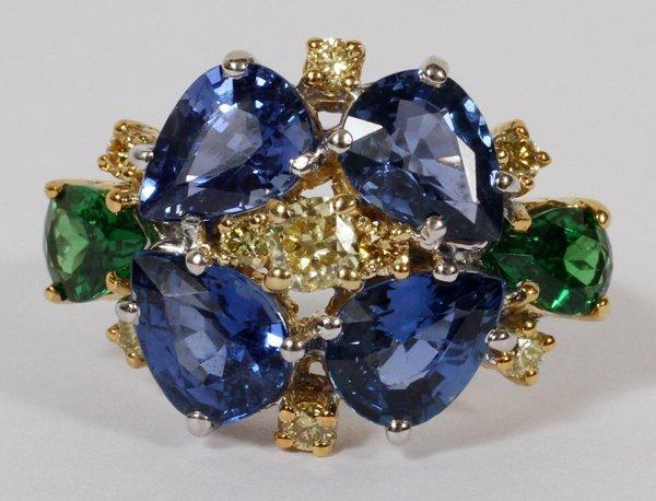 NAT'L SAPPHIRE, TSAVORITES, YELLOW DIAMOND RING
