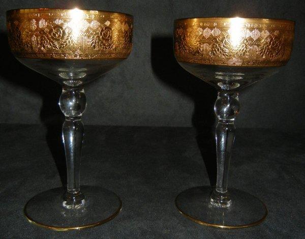 """GOLD LEAF & CRYSTAL CHAMPAGNE GLASSES, 12, H 6"""""""