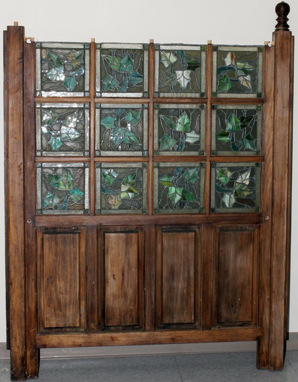 LEADED STAINED GLASS & WOOD ROOM DIVIDER C1920