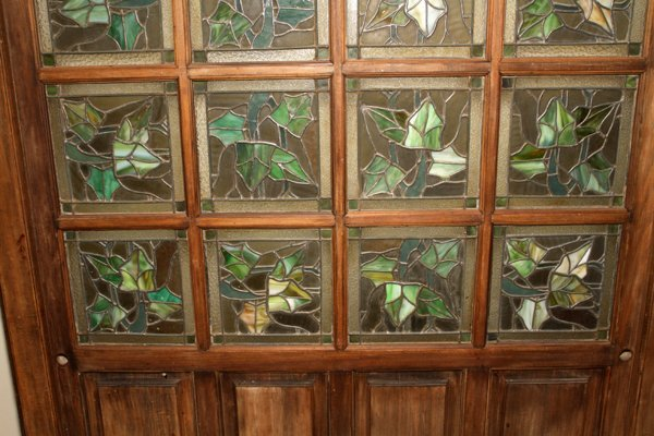 LEADED STAINED GLASS & WOOD ROOM DIVIDER C1920 - 2