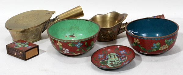ENAMEL, BRASS AND CLOISONNÉ GROUPING, 11 PIECES