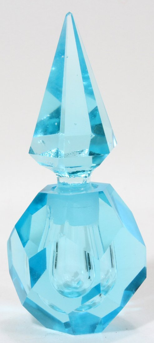 "HAND CUT CRYSTAL PERFUME BOTTLE, H 4"", DIA 2"""