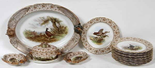 ROYAL WORCESTER PORCELAIN GAME SET, C1889 17PCS