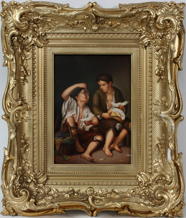 PORCELAIN PLAQUE MURILLO'S 'THE MELON EATERS'