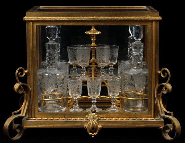 LOUIS XV STYLE D'ORE BRONZE & CRYSTAL TANTALUS