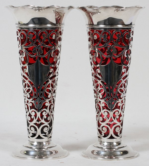 BLACK, STARR & FROST STERLING, RUBY GLASS VASES