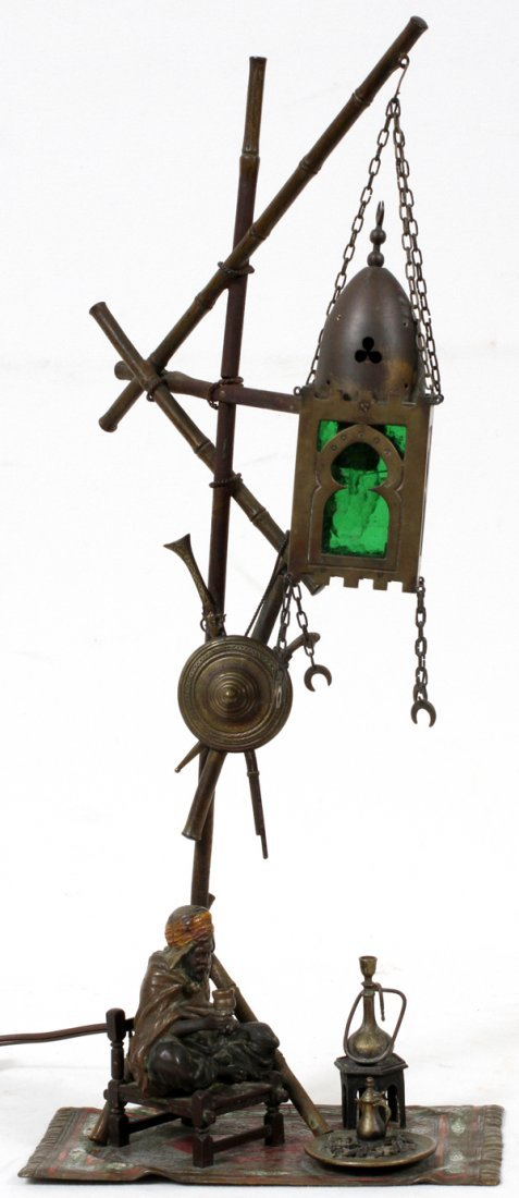 FRANZ BERGMAN, AUSTRIAN BRONZE FIGURAL LAMP