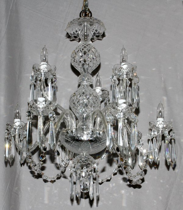 WATERFORD NINE-LIGHT CRYSTAL CHANDELIER, H 24""