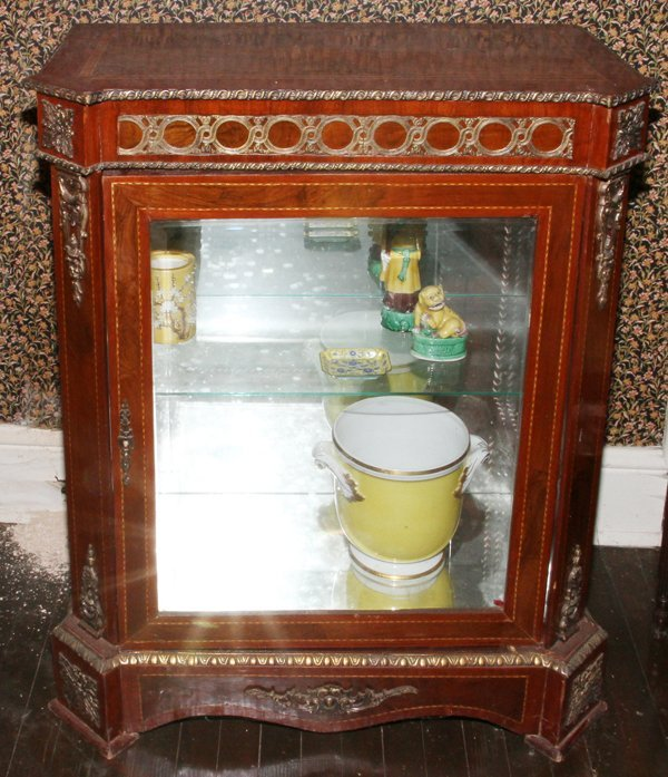 FRENCH STYLE MAHOGANY & INLAY VITRINE, H 40""