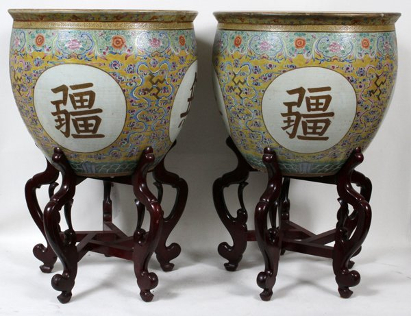 ANTIQUE CHINESE PORCELAIN FISH BOWLS, PAIR