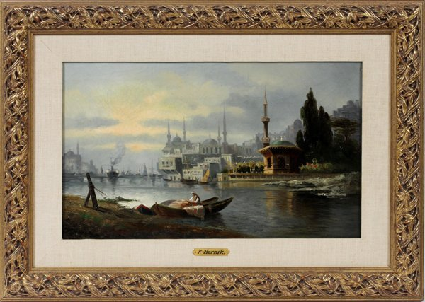 F. HERINK OIL ON CANVAS, 19TH C. VIEW OF BEIRUT