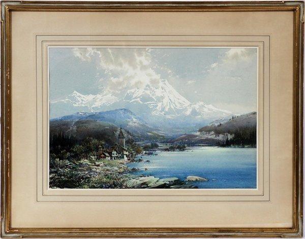 """NOEL H. LEAVER WATERCOLOR, """"IN THE DOLOMITES"""""""