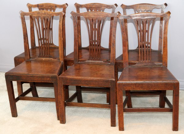 Chippendale Style Oak Side Chairs, 19th c, 6 Pcs