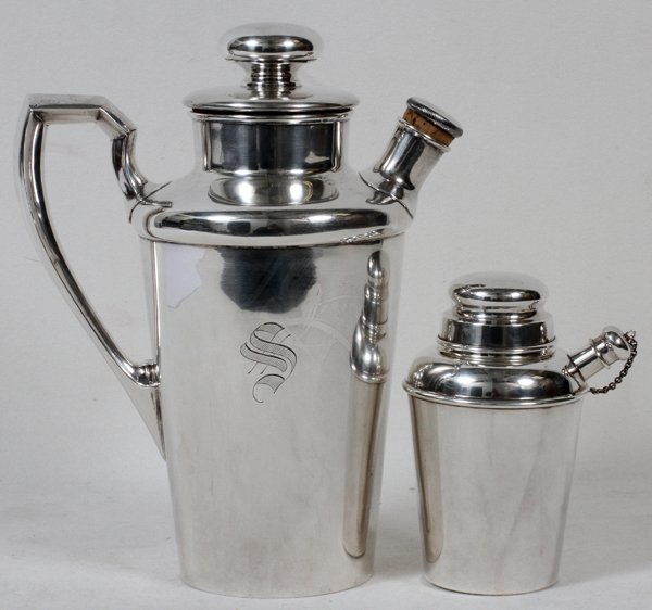 """STERLING COCKTAIL SHAKERS, TWO, H 5"""" & 10"""""""