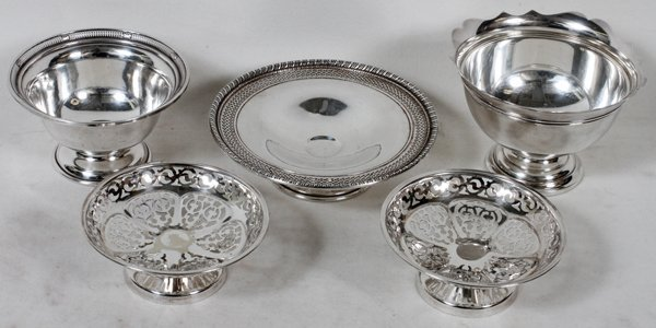 """STERLING SILVER COMPOTES, 5 PCS., 1 3/4""""-2 3/4"""""""