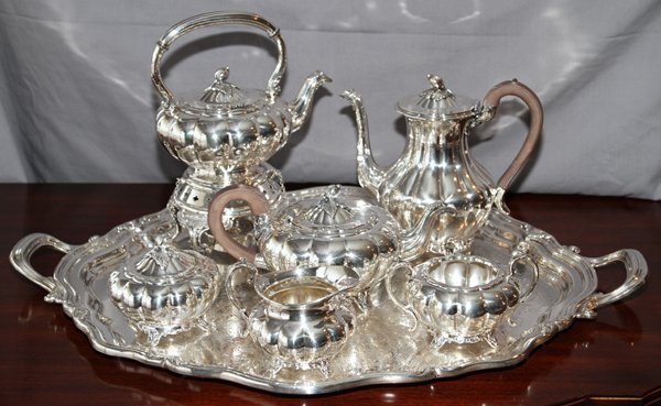 SILVER PLATE TEA AND COFFEE SET WITH TRAY, 7